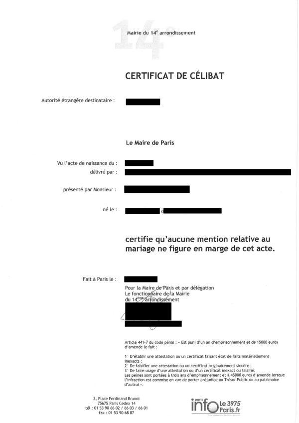 Musterübersetzung Certificat de célibat Französisch Deutsch