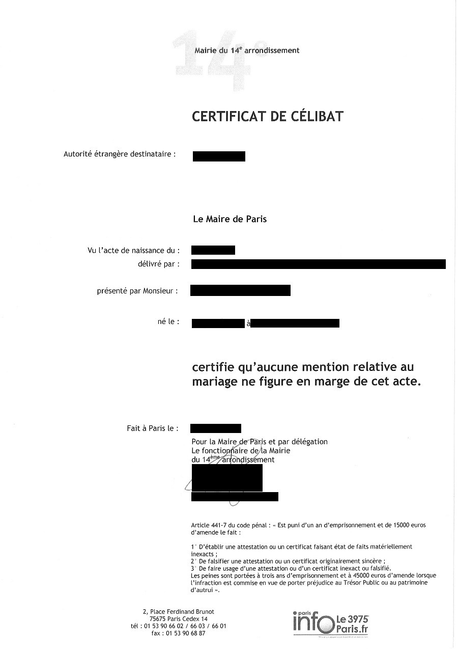 Certificat De Célibat