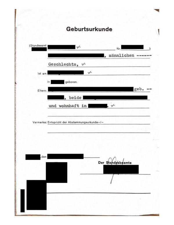 Vorlage französische Übersetzung deutsche Geburtsurkunde