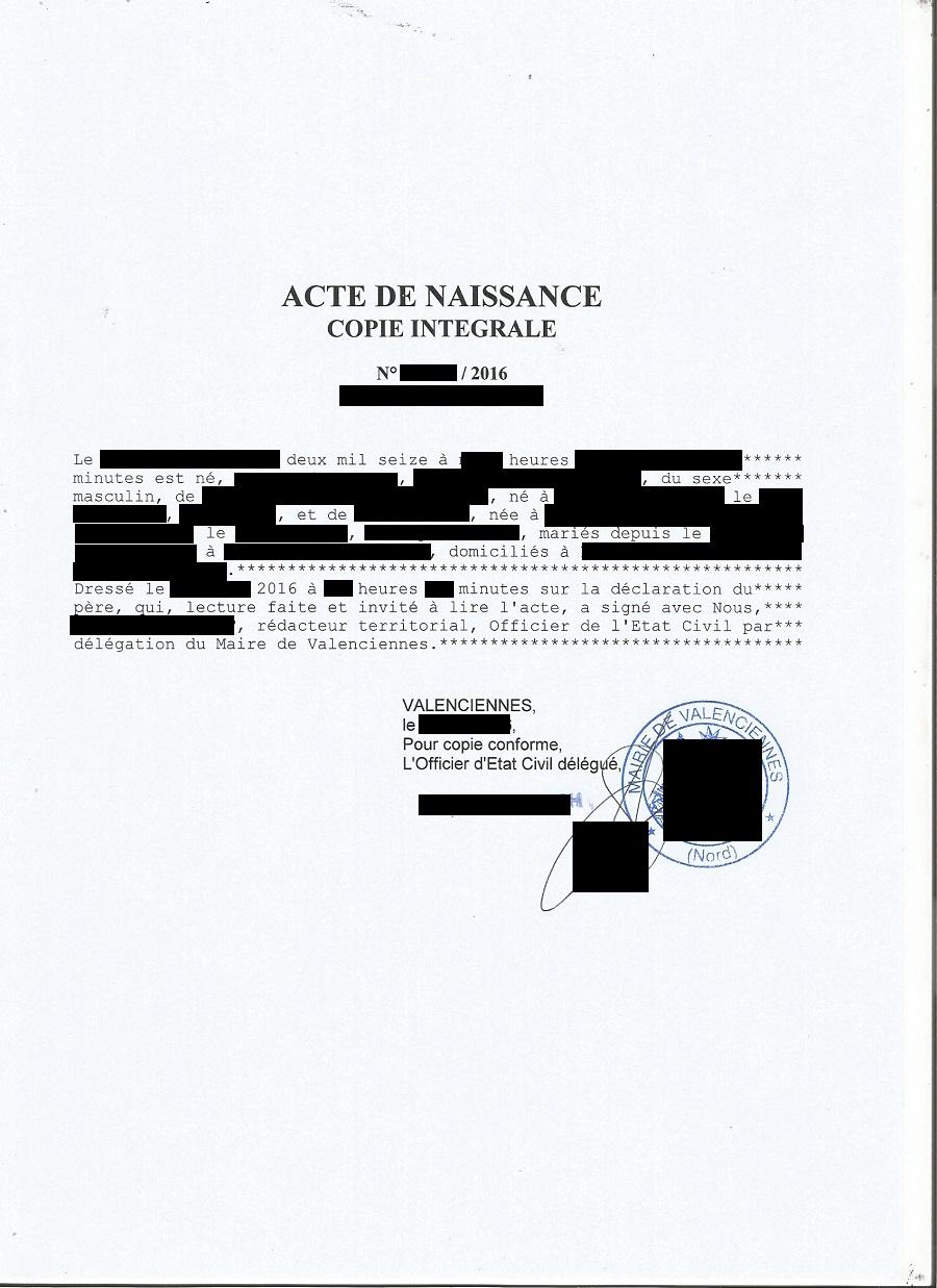 Copie Intégrale D'acte De Naissance