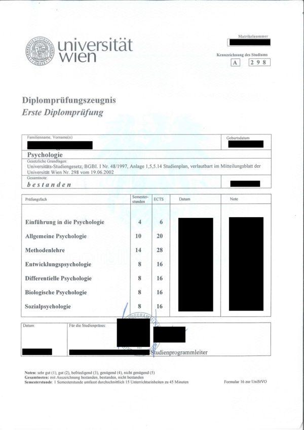 Übersetzungsvorlage Deutsch Französisch österreichisches 1. Diplomprüfungszeugnis, Universität Wien, Österreich