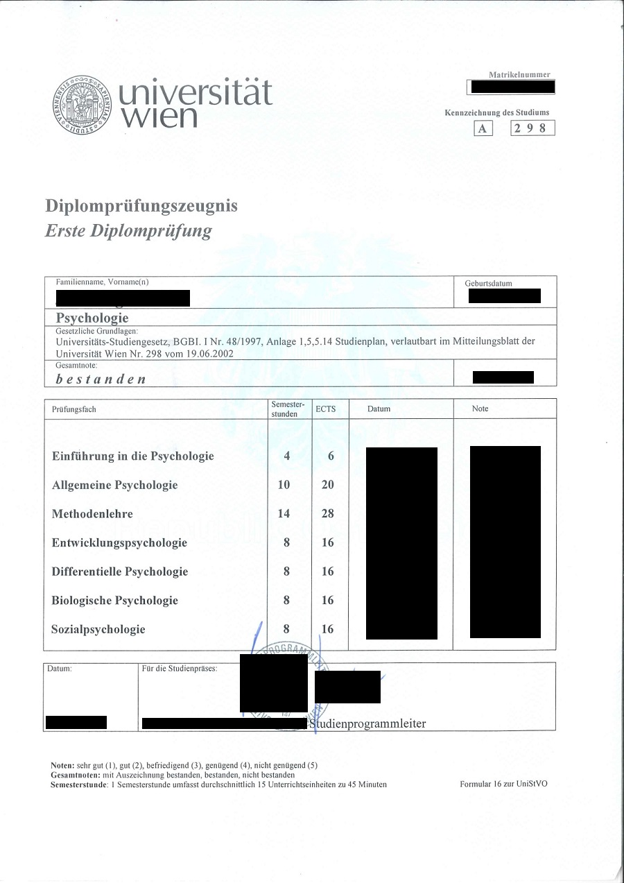1. Diplomprüfungs- Zeugnis