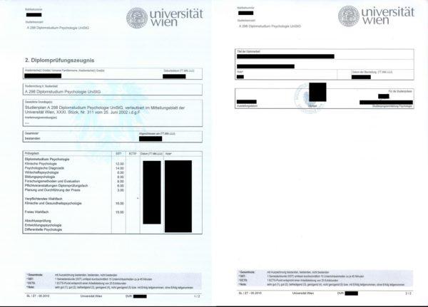 Übersetzungsvorlage Deutsch Französisch österreichisches 2. Diplomprüfungszeugnis, Universität Wien, Österreich