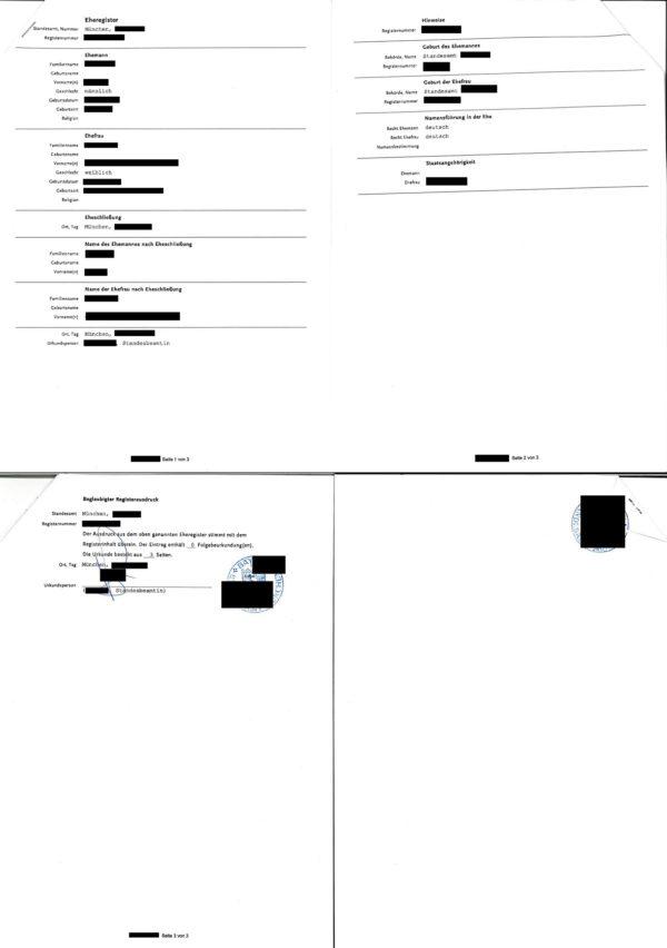 Übersetzungsvorlage Deutsch Französisch Abschrift aus dem Eheregister, 2019, München