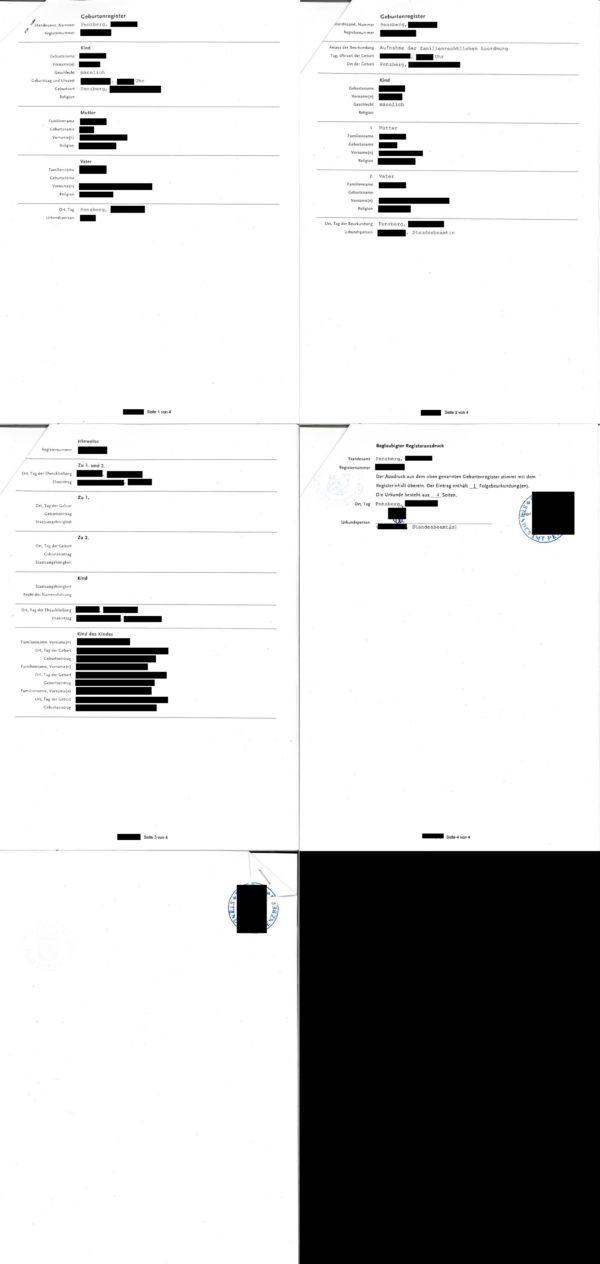Übersetzungsvorlage Deutsch Französisch Abschrift aus dem Geburtenregister, 2018, Penzberg, Deutschland
