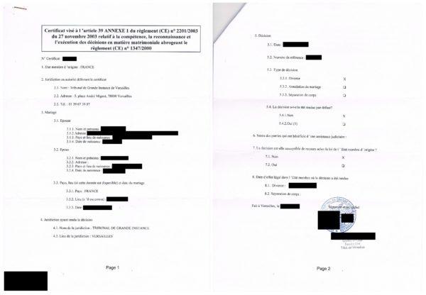 Übersetzungsvorlage Französisch Deutsch französische Bescheinigung gemäß Artikel 39 über Entscheidungen in Ehesachen Certificat visé à l'article 39 concernant les décisions en matière matrimoniale, 2017, Versailles, Frankreich