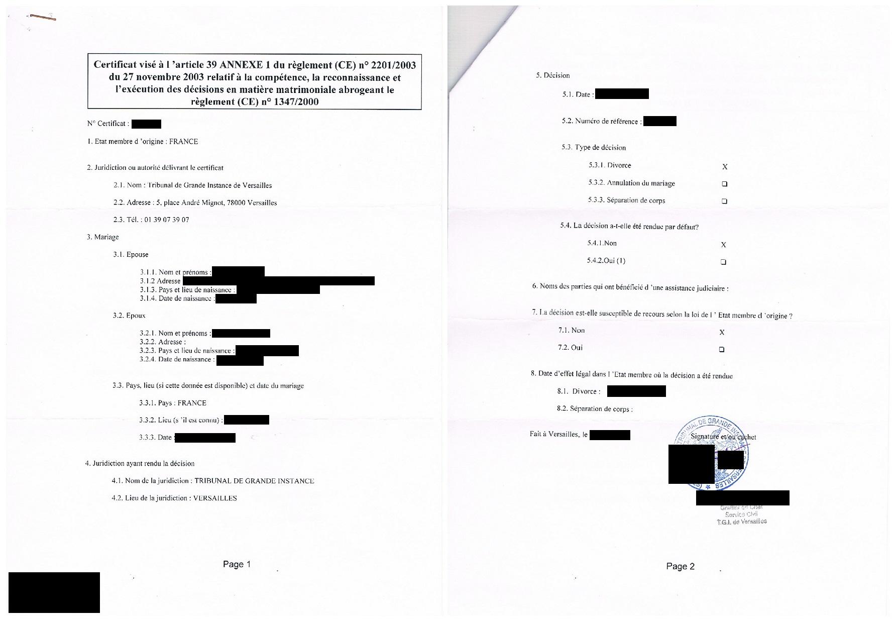 Certificat Visé à L'article 39 Concernant Les Décisions En Matière Matrimoniale (règlement Bruxelles IIbis)