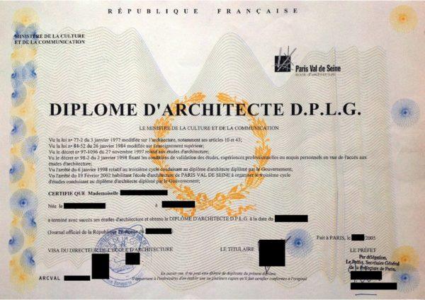 Musterübersetzung Französisch Deutsch französisches Architektendiplom Diplôme d'architecte, 2004, Paris, Frankreich
