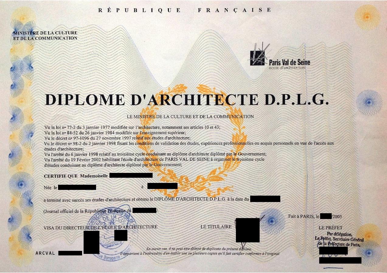 Diplôme D'architecte D.P.L.G.