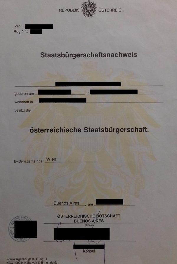 Übersetzungsvorlage Deutsch Französisch Staatsbürgerschaftsnachweis, österreichische Botschaft Buenos Aires